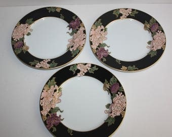 "Set 3 Vintage Fitz and Floyd Cloisonne Peony Salad Plates 1970's and 1980's/Black Floral Plates Gold Trim/7.5"" Plates"