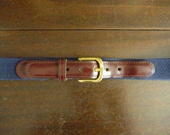 CLASSIC Vintage Reddish Brown Leather & Navy Blue Cotton Canvas Trad / Ivy League Surcingle Belt Size 38.  Made in USA.