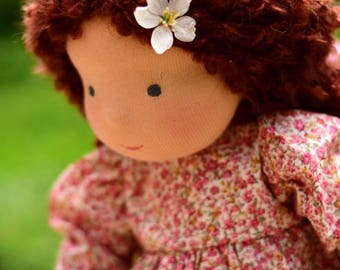 "16"" Waldorf Doll, dark brown hair, Willow (made to order )"