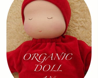 """ORGANIC Waldorf baby Doll 14"""", Millet baby, Weighted baby doll, Various colours"""