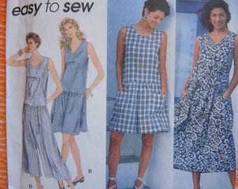 vintage 1990s Simplicity sewing pattern 8966 UNCUT misses dress or jumper and jumpsuit each in two lengths size XS-S-M