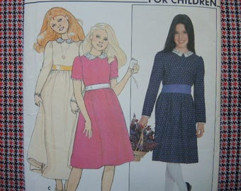 vintage 1980s Butterick sewing pattern 4510 Nantucket designs for children girls dress and sash size 7-8-10-12-14