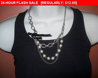 Beaded chain necklace, vintage bead and chain necklace, hippie