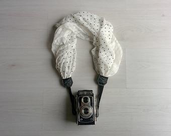 Camera scarf Camera scarf strap Scarf camera strap Floral fabric camera strap Camera accessories Fabric and lace camera strap Camera straps