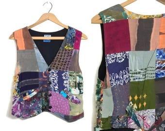 Vintage Hippie Vest Boho Vest Rayon Patchwork Vest Top Festival Clothing Revival Grunge Shirt Batik Tie Dye Hippie Clothing Small Medium C1
