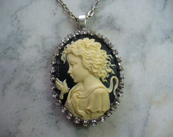 Cameo Necklace, Black and Ivory Cameo, Young Child with Dove, Antiqued Silver Plate, Rhinestones, Reversible, Pendant Necklace