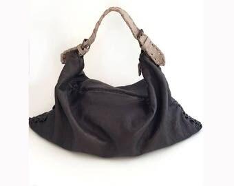 Folded Leather Hobo bag- Leather Grey Bag- Shoulder Bag