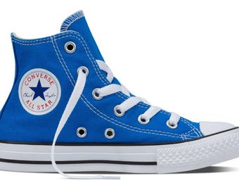 Kids Blue Converse Childrens High Top Youth w/ Swarovski Crystal Rhinstone Soar Canvas Chuck Taylor Bling All Star Sneakers Shoes