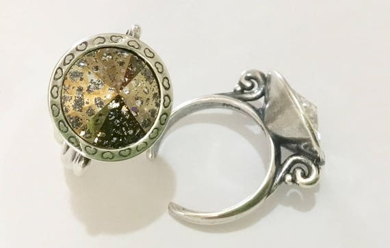 Antique Silver tone Finger Ring Pewter Adjustable Cocktail w/ Swarovski Gold Patina Crystal Rivoli 14mm Rhinestone gem Filigree Ladies Gift
