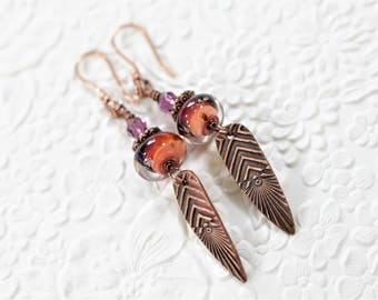 Handmade Copper Chevrons, Lampwork, Copper and Crystal Wirewrapped Earrings - OOAK