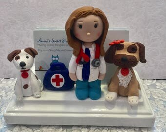 Veterinarian card holder,pet doctor,doggy doctor,business cards,polymer clay,desk accessories,desktop,handmade
