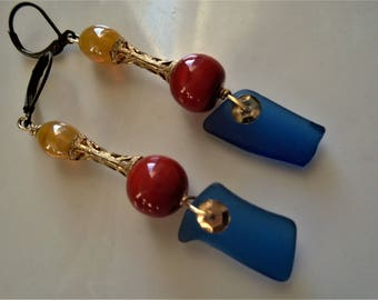 SALE,Recycled glass earrings, Skyy Vodka earrings,Mediterranean earrings,Moroccan style, madislandartist,Diane Marie,FREE SHIPPING