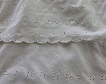 Sweet Vintage White eyelet lace shower curtain, With Faux Valance Ruffle, vintage white floral lace shower curtain, White eyelet lace bath