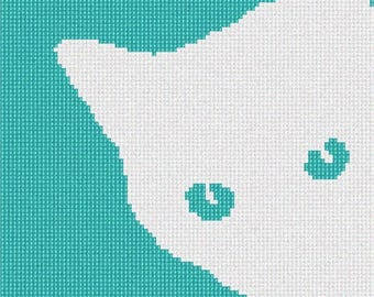 Needlepoint Kit or Canvas: White Cat Around Corner