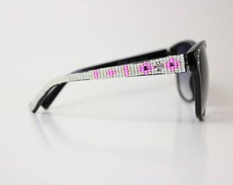 Cateye Pink White Beaded Sunglasses