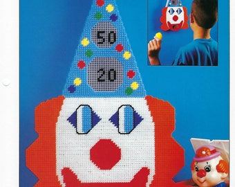 Clown Toss Game Plastic Canvas Pattern, Wall Hanging, Kid's Game, Annie's International