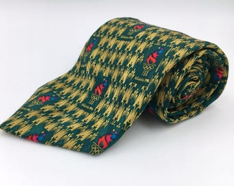 Vintage 1996 Atlanta Olympic Games Green and Gold Silk Tie by Ralph Marlin