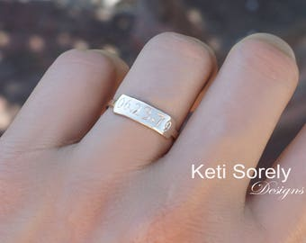 Engraved Date Ring - Dainty Initials Ring - Rectangle Ring - Bar Ring in Sterling Silver or Solid Yellow Gold, White Gold or Rose Gold