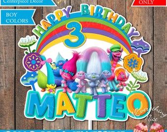 Trolls Theme Birthday BOY Colors Centerpiece Decoration