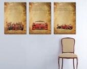Custom request for Linko. 3 Personalized posters: Dodge Viper, Ferrari Team, Andretti and Senna quotes. 20x30 inches.