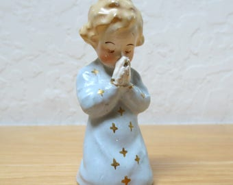 Small Vintage Chalkware Figurine of Girl Praying, Hand-Painted Details