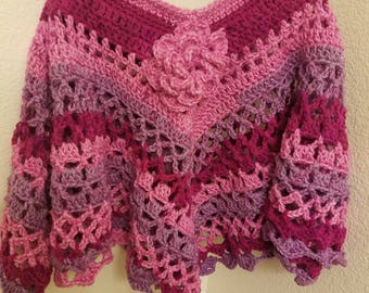 Crochet Poncho for girls 5T to 7T