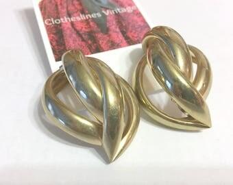 Vintage GOLD SCULPTURAL EARRINGS/Large Gold Earrings/Pierced Post Back