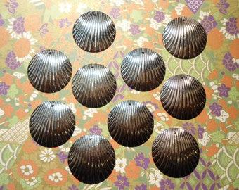 10 Silverplated Shell Earring Charms Dangles Drops Pendants
