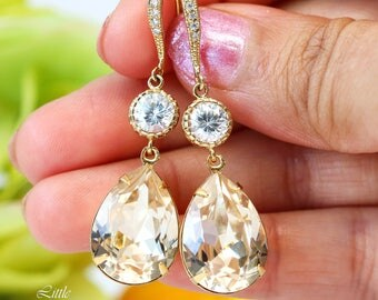 Champagne Earrings Peach Earrings Swarovski Silk Crystal Bridesmaid Gift Bridal Party Jewelry Gold Earrings Bridal Earrings CH31HC