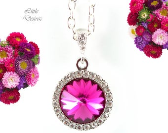 Fuchsia Pink Necklace Hot Pink Necklace Dark Pink Necklace Swarovski Rivoli Necklace Bridesmaid Gift Crystal Necklace Pink Pendant FU34N