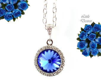 Sapphire Blue Necklace Bridal Necklace Sapphire Necklace Bridesmaid Necklace Swarovski Crystal Rivoli Necklace Wedding Jewelry SP34N