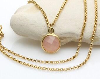 SUMMER SALE - Bezel set pendant,gold necklace,rose quartz necklace,pink stone pendant,rose gold necklace,rose gold pendant