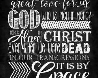 Scripture Art - Ephesians 2:4-5 ~ Chalkboard Style