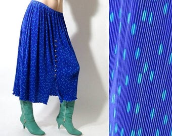 SALE Vintage Dotted Skirt /  Blue Dotted Skirt / 90s Skirt / Long Skirt / Blue Skirt / Ruffle Skirt