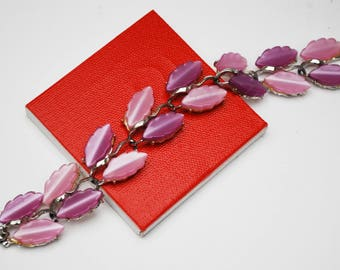 Purple Pink  Thermoset leaf Link Bracelet - Vintage Moonglow Lucite Plastic - Silver tone - Mid Century - Gift for her