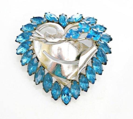 Blue Heart Brooch - Blue Rhinestone Crystal - silver  - mid century pin