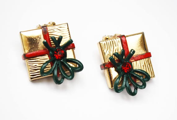 Christmas Package Present Earrings - Gold box - red green ename lbow -rhinestone - Holiday clip on earrings