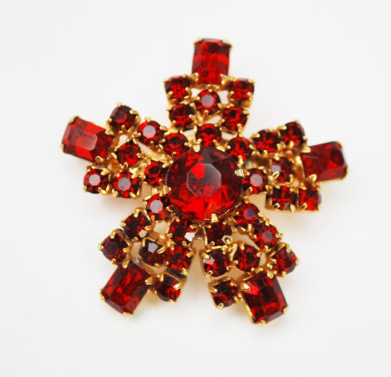 Ruby Red Rhinestone  Brooch - Snowflake Atomic Pin - Mid Century