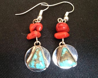Kingman turquoise earrings w/ recovery theme