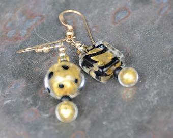 Trendy Mismatched Earrings, Gold Foil Venetian Glass Earrings, Authentic Murano Glass Earrings, Black & Gold Earrings, Chic Boho Earrings
