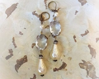 Vintage Assemblage Earrings, Rhinestone Assemblage, Vintage Pearl Earrings, Vintage Rhinestone Earrings, Bertha Louise Designs