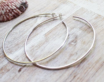 Large Sterling Silver Hoop Earrings, Silver Hoops, Big Hoops, Custom Hoops
