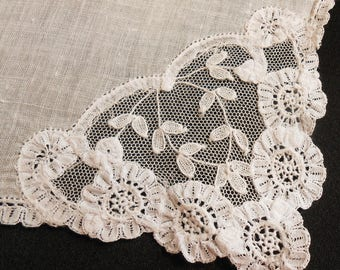 Wedding Hanky White Linen French Lace Brussels Lace Handkerchief, Something Old Wedding Hanky, Gift for Hankie Collector