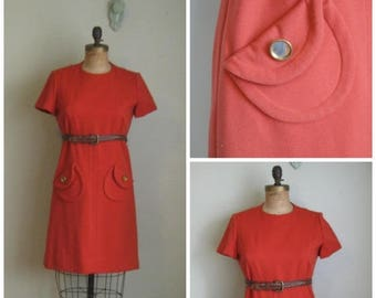 Summer Clearout 1960's Burnt Marmalade Pocket Dress// Belted// Shift
