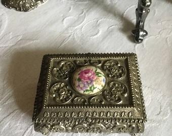 Lovely Ornate Vintage Japan Silverplate Footed Dresser/Vanity/Ring Box