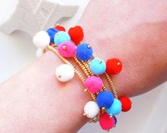 Pom Pom Bracelet - Gold Beaded Bracelet - Bohemian Bracelet - Boho Bracelet - Gift For Her - Statement Bracelet - Seed Bead Bracelet