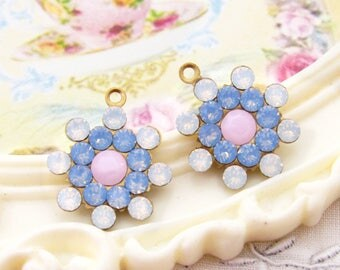 Vintage Style Swarovski White Opal, Blue Opal and Alabaster Pink Rhinestone Flower Drops Dangles 17mm - 2