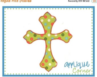 50% Off Cross with ZZ stitch applique digital design for embroidery machine by Applique Corner