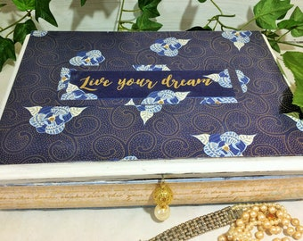 Indigo Blue Jewelry Box, Gold Metallic Keepsake Box, Words of Positivity Inspirational Jewelry Organizer, Live Your Dreams Treasure Box
