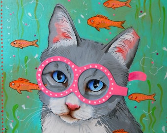 whimsical painting cats in eyewear the swimmer